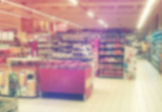 Supermarket Aisles out of Focus Royalty Free Stock Images