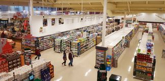 Supermarket Aisles View stock photography