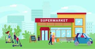 Free Supermarket At Cartoon Street, Flat City Shop Vector Illustration. Urban Market Background, People Go Shopping To Store Stock Photo - 214954760