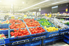 Supermarket background with copyspace Stock Images