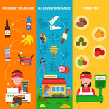 Supermarket Banner Set Royalty Free Stock Image