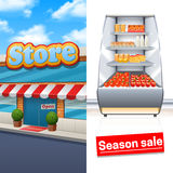 Supermarket Banner Set Stock Photos