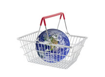 Supermarket basket containing globe Royalty Free Stock Image