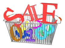 Supermarket Basket Sale_Raster Royalty Free Stock Images