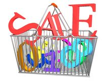 Supermarket Basket Sale Take_Raster Royalty Free Stock Images