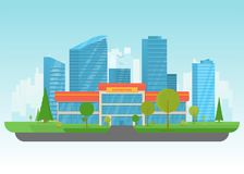 Supermarket and big city. Supermarket store building. Store building near park with trees and big city skyscrapers on background. Flat vector illustration. Tree vector illustration