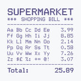 Supermarket bill font, alphabet and numbers Stock Images