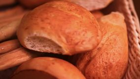 Supermarket. Bread showcase. Close up. HD. Supermarket. showcase grain mill products stock video