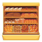 Supermarket. Bread showcase. Picture of different bread and bakery products on shelves stock illustration