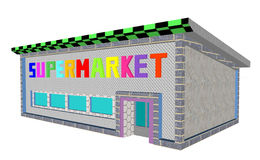Supermarket building. Abstract render illustration Royalty Free Stock Images