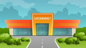 Supermarket building on the background of the city. Supermarket building on the city background. Vector image in cartoon flat style. Element of urban royalty free illustration