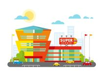 Supermarket Building Facade with Parking in front Royalty Free Stock Photo
