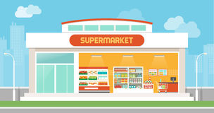 Supermarket building Royalty Free Stock Image