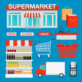 Supermarket Building and Interior with Products Royalty Free Stock Images