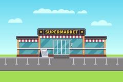 Supermarket building, shopping market, mall vector illustration royalty free illustration