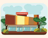 Supermarket building standing on the street, Stock Photo