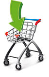 Supermarket cart with arrow. Empty supermarket cart with a green arrow Stock Images