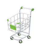 Supermarket cart with basket for shopping Royalty Free Stock Photography