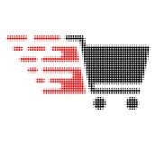 Supermarket Cart Halftone Dotted Icon with Fast Rush Effect royalty free illustration