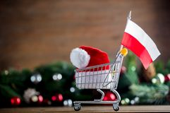 Supermarket cart with Poland flag and Santa Claus hat. With pine cones and branches on background. Image with Christmas holiday theme Royalty Free Stock Image