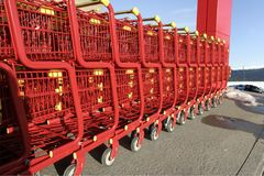 Supermarket carts Stock Photo