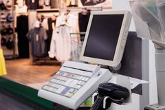 Supermarket cash desk checkout counter payment terminal Royalty Free Stock Photo