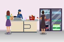 Supermarket cashier and buyer pays purchase vector illustration