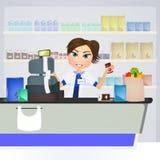 Supermarket cashier. Cute illustration of supermarket cashier Stock Images