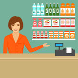 Supermarket cashier Stock Images