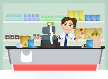 Supermarket cashier. Illustration of supermarket cashier woman Royalty Free Stock Images
