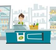 Supermarket cashier within shop interior, vector cartoon illustration. Cash table, supermarket shelves, fridge, basket, food store Stock Images
