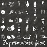 Supermarket on chalk. Icons used in supermarket white. Placed on a chalkboard. In vector format Royalty Free Stock Image