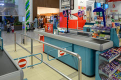 Supermarket Check Out. Hyperstar Supermarket, Emporium Mall, Lahore Pakistan Royalty Free Stock Photo