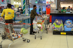 Supermarket Check Out. Hyperstar Supermarket, Emporium Mall, Lahore Pakistan Royalty Free Stock Images