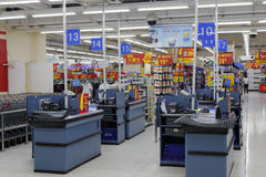 Supermarket checkout counter. Checkout counter of the walmart in sm mall, amoy city, china royalty free stock photos