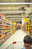 Supermarket and child Royalty Free Stock Photography