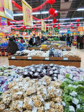 Supermarket before China lunar new year. Supermarket before China spring festival photoed in Tianjin China in  january 2014 Royalty Free Stock Image