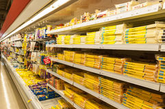 Supermarket cold storage Stock Images