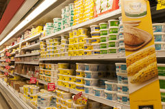 Supermarket cold storage, dairy product Royalty Free Stock Photos