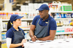 Supermarket colleagues Stock Photos