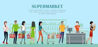 Supermarket Concept Banner in Flat Style Design. Royalty Free Stock Photography