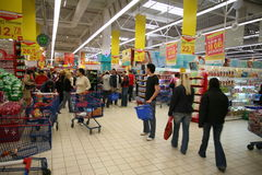 At supermarket. Customer shopping inside a supermarket, commercial center in Bucharest city, Romania Stock Photo