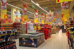 Supermarket decorated for Christmas Stock Image