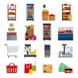 Supermarket Decorative Flat Icons Set Stock Image