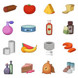 Supermarket department icons set, cartoon style Royalty Free Stock Photography
