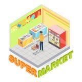 Supermarket Department Interior Isometric Vector Royalty Free Stock Image