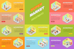 Supermarket Departments Banners Set. Store Shop. Supermarket departments banners set. Cheese, bakery, alcoholic, juices, fruits and vegetables, milk, meat, fish Stock Photos