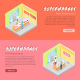 Supermarket Departments Isometric Web Banners Set Royalty Free Stock Images