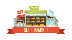 Supermarket Display Stand Retro Composition Poster Royalty Free Stock Photo