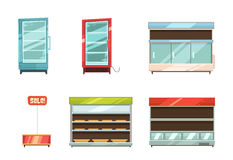 Supermarket Displays Racks Shelves Icons Set. Supermarket and grocery stories display racks aisle refrigerator and sale stand retro cartoon icons collection Stock Images